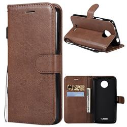 Retro Greek Classic Smooth PU Leather Wallet Phone Case for Motorola Moto C - Brown