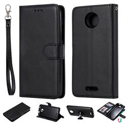 Retro Greek Detachable Magnetic PU Leather Wallet Phone Case for Motorola Moto C - Black