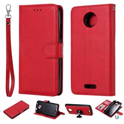 Retro Greek Detachable Magnetic PU Leather Wallet Phone Case for Motorola Moto C - Red