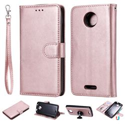 Retro Greek Detachable Magnetic PU Leather Wallet Phone Case for Motorola Moto C - Rose Gold