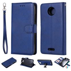 Retro Greek Detachable Magnetic PU Leather Wallet Phone Case for Motorola Moto C - Blue