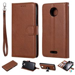 Retro Greek Detachable Magnetic PU Leather Wallet Phone Case for Motorola Moto C - Brown