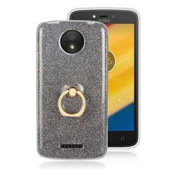 Luxury Soft TPU Glitter Back Ring Cover with 360 Rotate Finger Holder Buckle for Motorola Moto C Plus - Black
