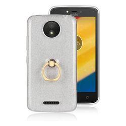 Luxury Soft TPU Glitter Back Ring Cover with 360 Rotate Finger Holder Buckle for Motorola Moto C Plus - White