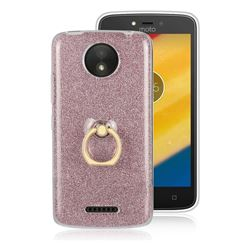 Luxury Soft TPU Glitter Back Ring Cover with 360 Rotate Finger Holder Buckle for Motorola Moto C Plus - Pink