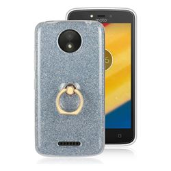 Luxury Soft TPU Glitter Back Ring Cover with 360 Rotate Finger Holder Buckle for Motorola Moto C Plus - Blue