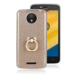 Luxury Soft TPU Glitter Back Ring Cover with 360 Rotate Finger Holder Buckle for Motorola Moto C Plus - Golden