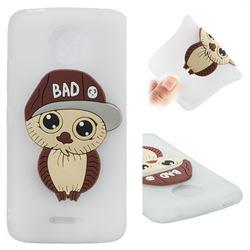 Bad Boy Owl Soft 3D Silicone Case for Motorola Moto C Plus - Translucent White