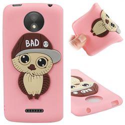 Bad Boy Owl Soft 3D Silicone Case for Motorola Moto C Plus - Pink