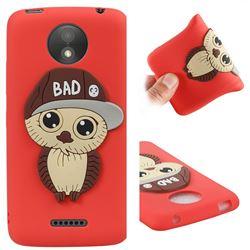 Bad Boy Owl Soft 3D Silicone Case for Motorola Moto C Plus - Red
