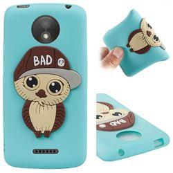 Bad Boy Owl Soft 3D Silicone Case for Motorola Moto C Plus - Sky Blue