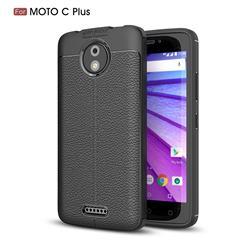 Luxury Auto Focus Litchi Texture Silicone TPU Back Cover for Motorola Moto C Plus - Black