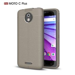 Luxury Auto Focus Litchi Texture Silicone TPU Back Cover for Motorola Moto C Plus - Gray