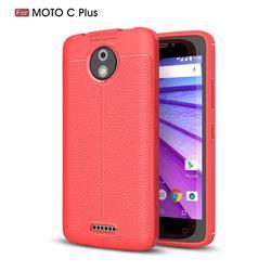 Luxury Auto Focus Litchi Texture Silicone TPU Back Cover for Motorola Moto C Plus - Red