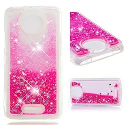 Dynamic Liquid Glitter Quicksand Sequins TPU Phone Case for Motorola Moto C Plus - Rose