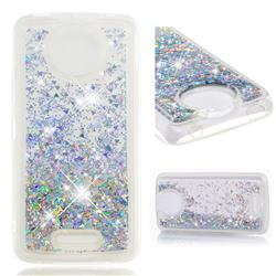 Dynamic Liquid Glitter Quicksand Sequins TPU Phone Case for Motorola Moto C Plus - Silver