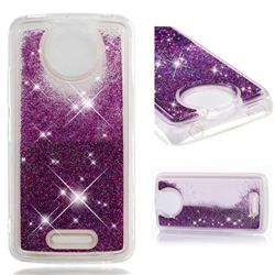 Dynamic Liquid Glitter Quicksand Sequins TPU Phone Case for Motorola Moto C Plus - Purple