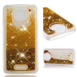 Dynamic Liquid Glitter Quicksand Sequins TPU Phone Case for Motorola Moto C Plus - Golden