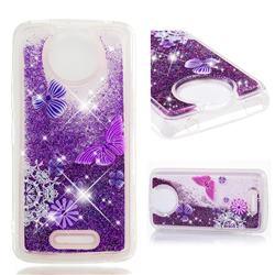 Purple Flower Butterfly Dynamic Liquid Glitter Quicksand Soft TPU Case for Motorola Moto C Plus