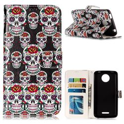 Flower Skull 3D Relief Oil PU Leather Wallet Case for Motorola Moto C Plus