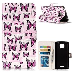 Butterflies Stickers 3D Relief Oil PU Leather Wallet Case for Motorola Moto C Plus