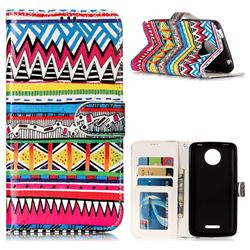 Tribal Pattern 3D Relief Oil PU Leather Wallet Case for Motorola Moto C Plus
