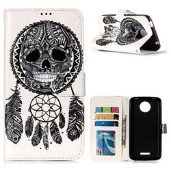 Wind Chimes Skull 3D Relief Oil PU Leather Wallet Case for Motorola Moto C Plus