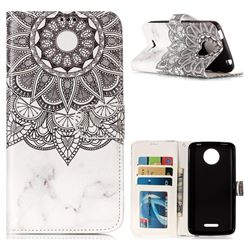 Marble Mandala 3D Relief Oil PU Leather Wallet Case for Motorola Moto C Plus