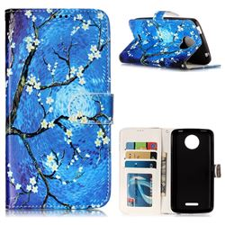 Plum Blossom 3D Relief Oil PU Leather Wallet Case for Motorola Moto C Plus