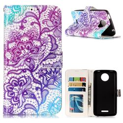 Purple Lotus 3D Relief Oil PU Leather Wallet Case for Motorola Moto C Plus