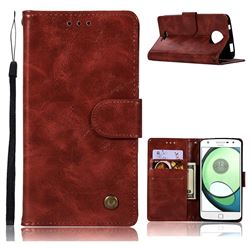 Luxury Retro Leather Wallet Case for Motorola Moto C Plus - Wine Red