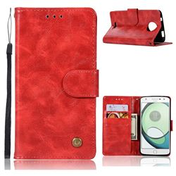 Luxury Retro Leather Wallet Case for Motorola Moto C Plus - Red