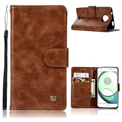 Luxury Retro Leather Wallet Case for Motorola Moto C Plus - Brown