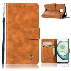 Luxury Retro Leather Wallet Case for Motorola Moto C Plus - Golden