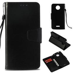 Retro Phantom Smooth PU Leather Wallet Holster Case for Motorola Moto C Plus - Black