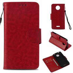 Retro Phantom Smooth PU Leather Wallet Holster Case for Motorola Moto C Plus - Red