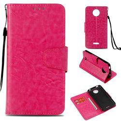Retro Phantom Smooth PU Leather Wallet Holster Case for Motorola Moto C Plus - Rose