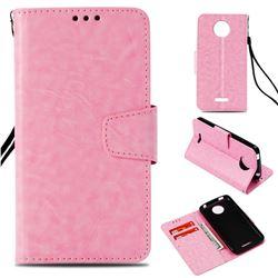 Retro Phantom Smooth PU Leather Wallet Holster Case for Motorola Moto C Plus - Pink