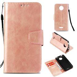 Retro Phantom Smooth PU Leather Wallet Holster Case for Motorola Moto C Plus - Rose Gold
