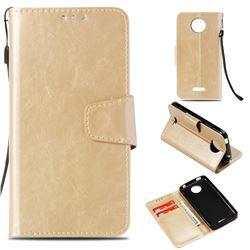 Retro Phantom Smooth PU Leather Wallet Holster Case for Motorola Moto C Plus - Champagne