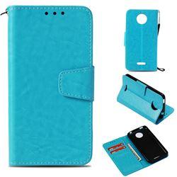 Retro Phantom Smooth PU Leather Wallet Holster Case for Motorola Moto C Plus - Sky Blue