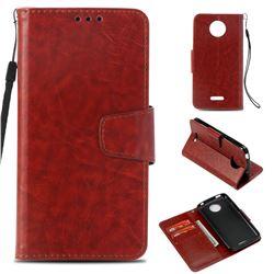 Retro Phantom Smooth PU Leather Wallet Holster Case for Motorola Moto C Plus - Brown