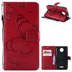 Embossing 3D Butterfly Leather Wallet Case for Motorola Moto C Plus - Red