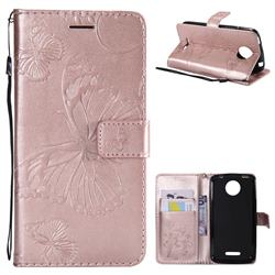 Embossing 3D Butterfly Leather Wallet Case for Motorola Moto C Plus - Rose Gold