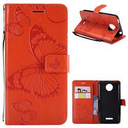 Embossing 3D Butterfly Leather Wallet Case for Motorola Moto C Plus - Orange
