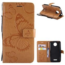 Embossing 3D Butterfly Leather Wallet Case for Motorola Moto C Plus - Yellow