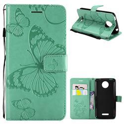 Embossing 3D Butterfly Leather Wallet Case for Motorola Moto C Plus - Green