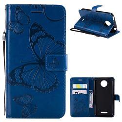 Embossing 3D Butterfly Leather Wallet Case for Motorola Moto C Plus - Blue