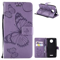 Embossing 3D Butterfly Leather Wallet Case for Motorola Moto C Plus - Purple