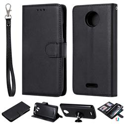 Retro Greek Detachable Magnetic PU Leather Wallet Phone Case for Motorola Moto C Plus - Black